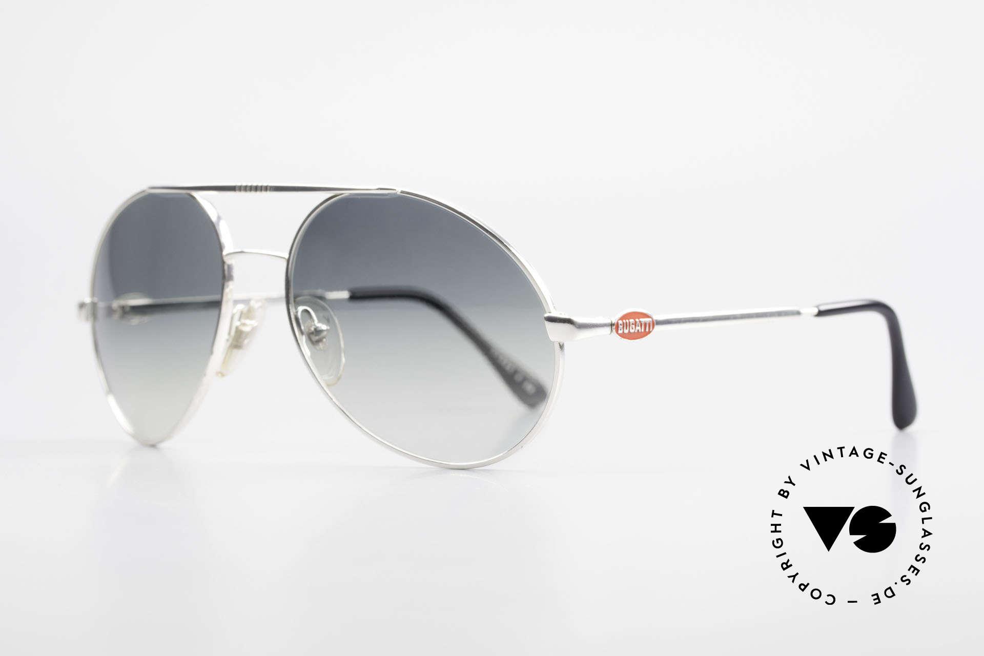 Bugatti 65996 Costly Mirrored Sun Lenses, very noble sun lenses: half mirrored blue-gray, Made for Men