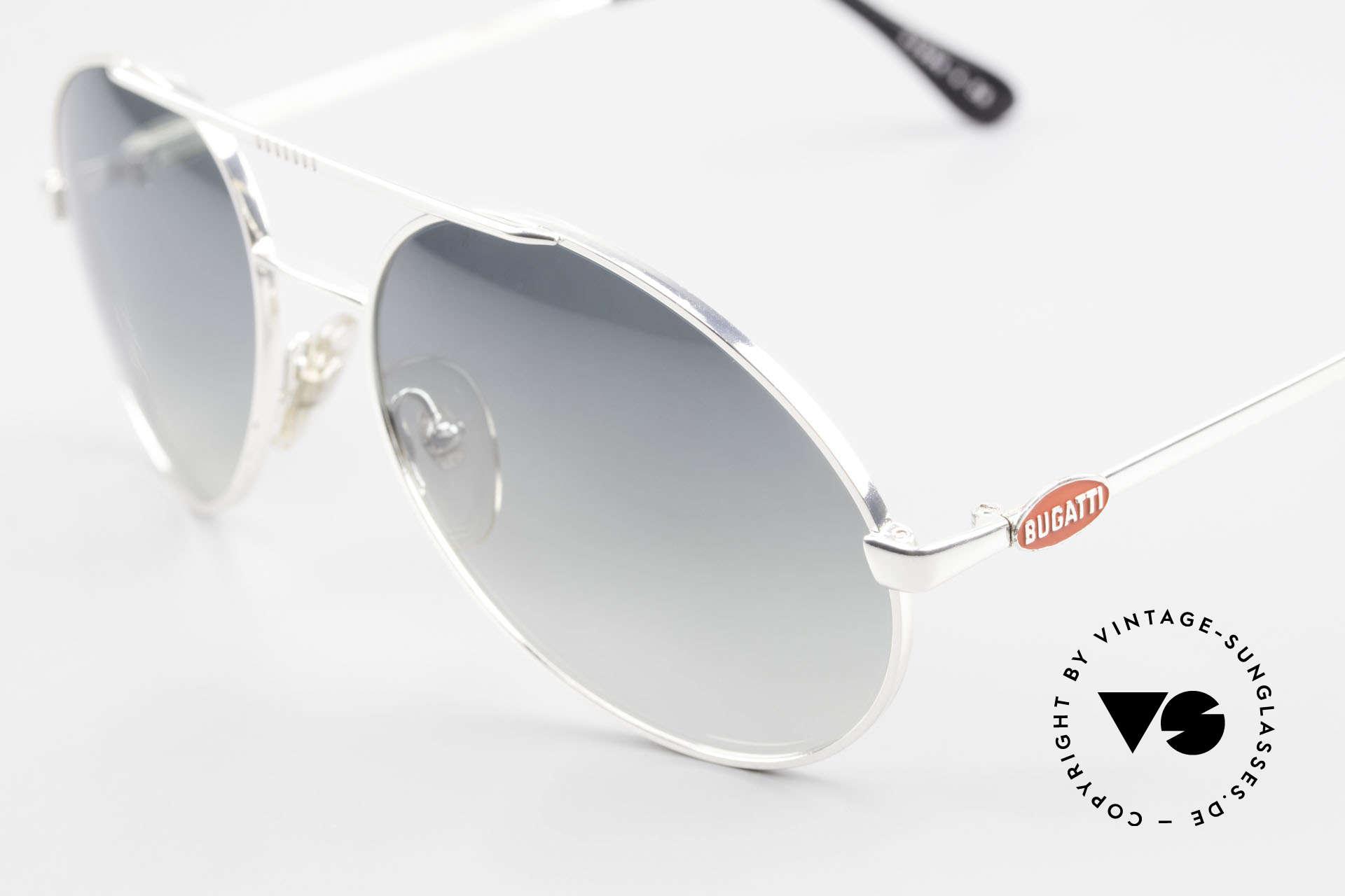 Bugatti 65996 Costly Mirrored Sun Lenses, silver frame with red Bugatti logos in L size 56, Made for Men