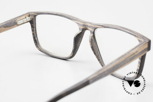 Kerbholz Nils Wood Frame Square For Men, unworn pair with flexible spring hinges (1. class fit), Made for Men