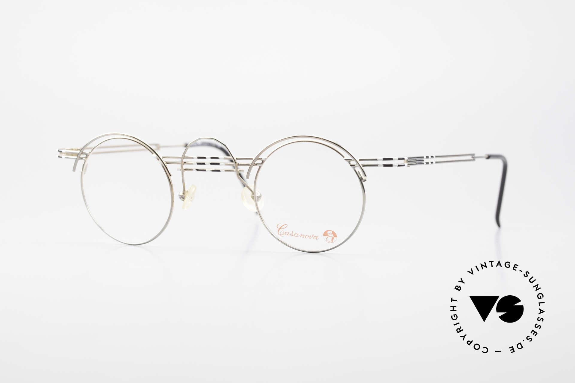 Casanova BC1 Artful Panto Designer Glasses, artful Panto designer eyeglasses by Casanova, 1980's, Made for Women