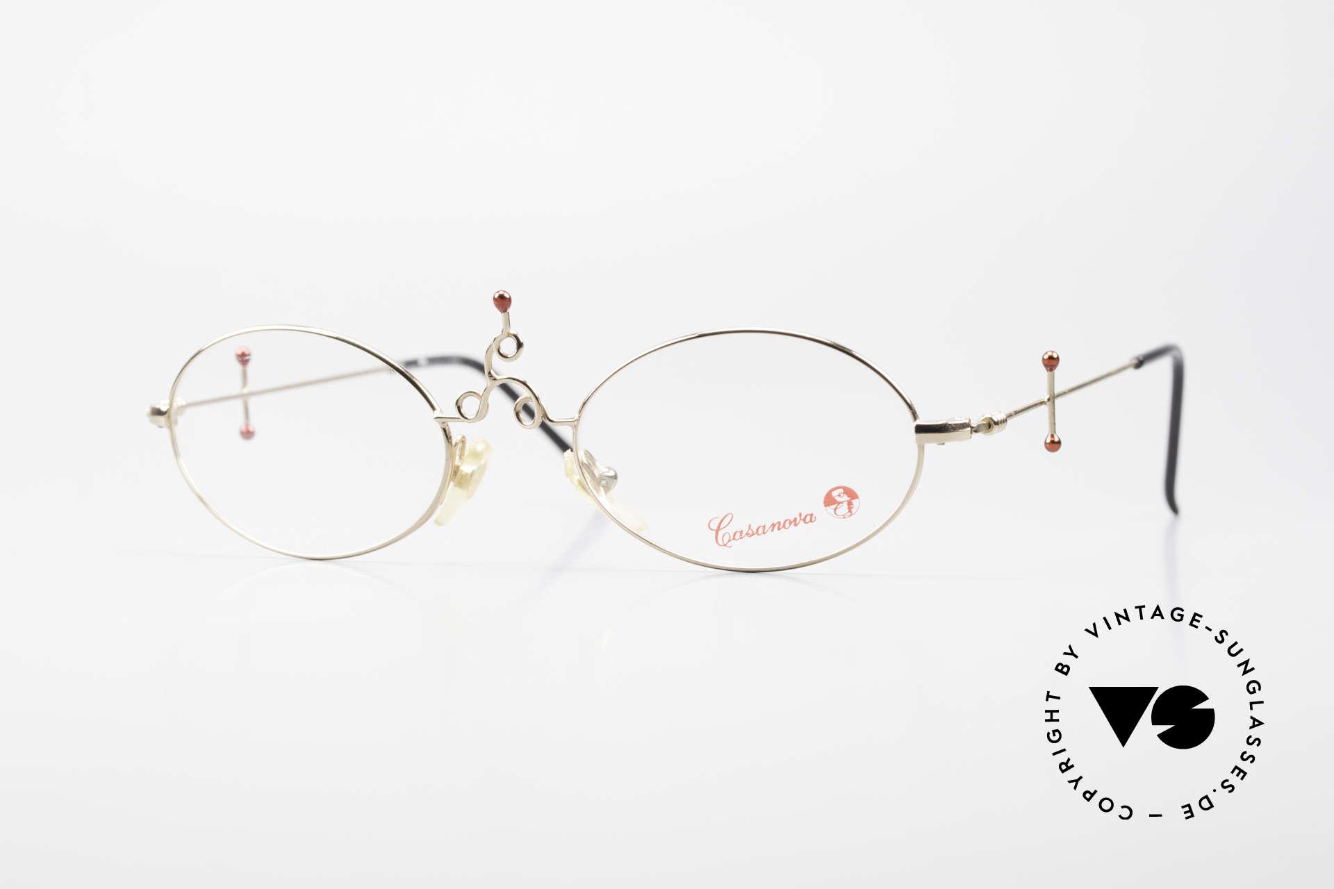 Casanova Arché 1 Art Glasses 80's Gold Plated, glamorous CASANOVA luxury eyeglasses from the 80's, Made for Women