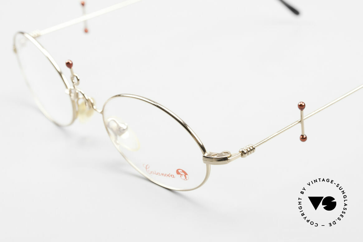 Casanova Arché 1 Art Glasses 80's Gold Plated, model name: Col-01, size 46/18, Arché 1, made in Italy, Made for Women