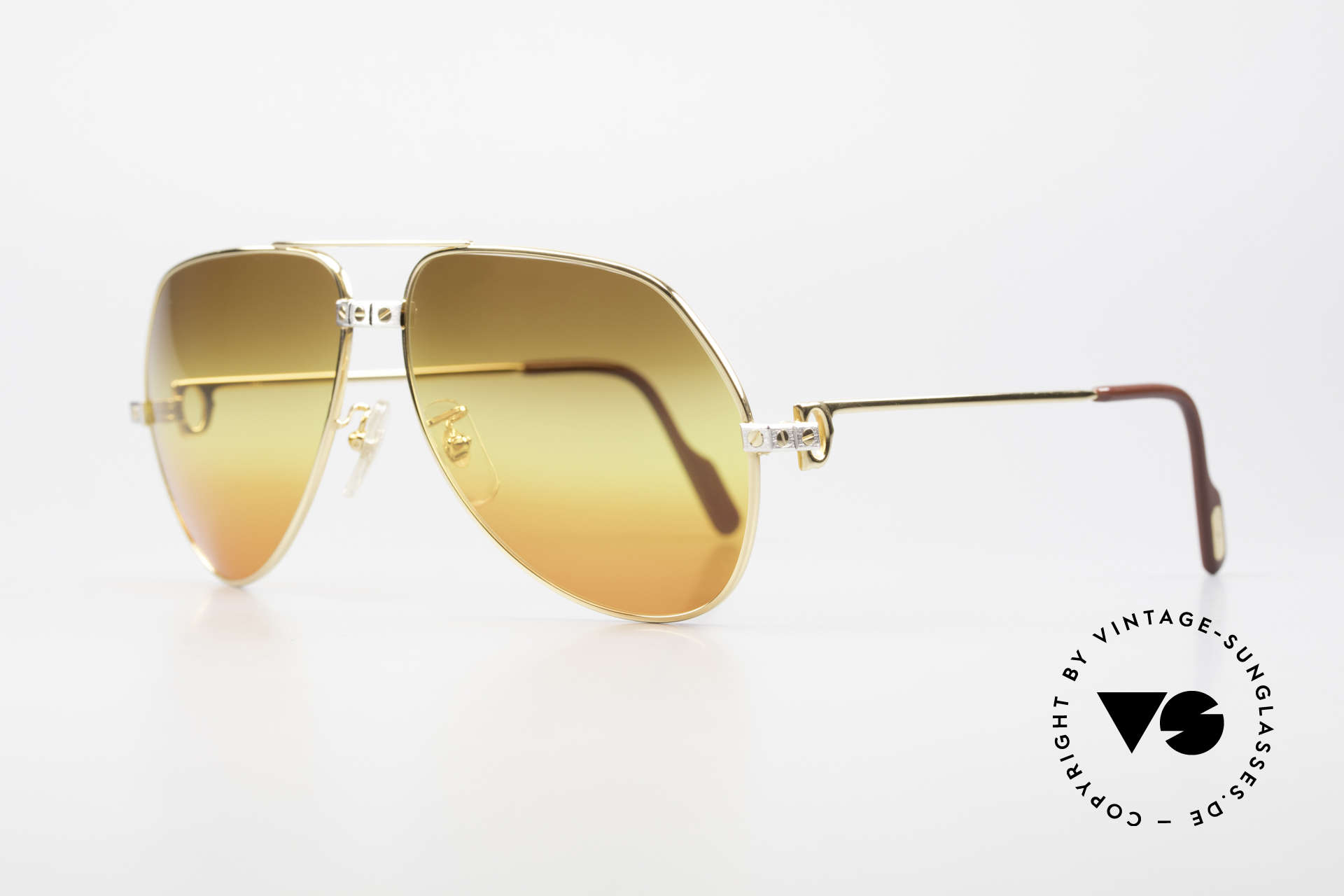 Cartier Vendome Santos - L Triple Gradient Desert Sun, 22ct GOLD-PLATED frame in LARGE SIZE 62-14, 140!, Made for Men