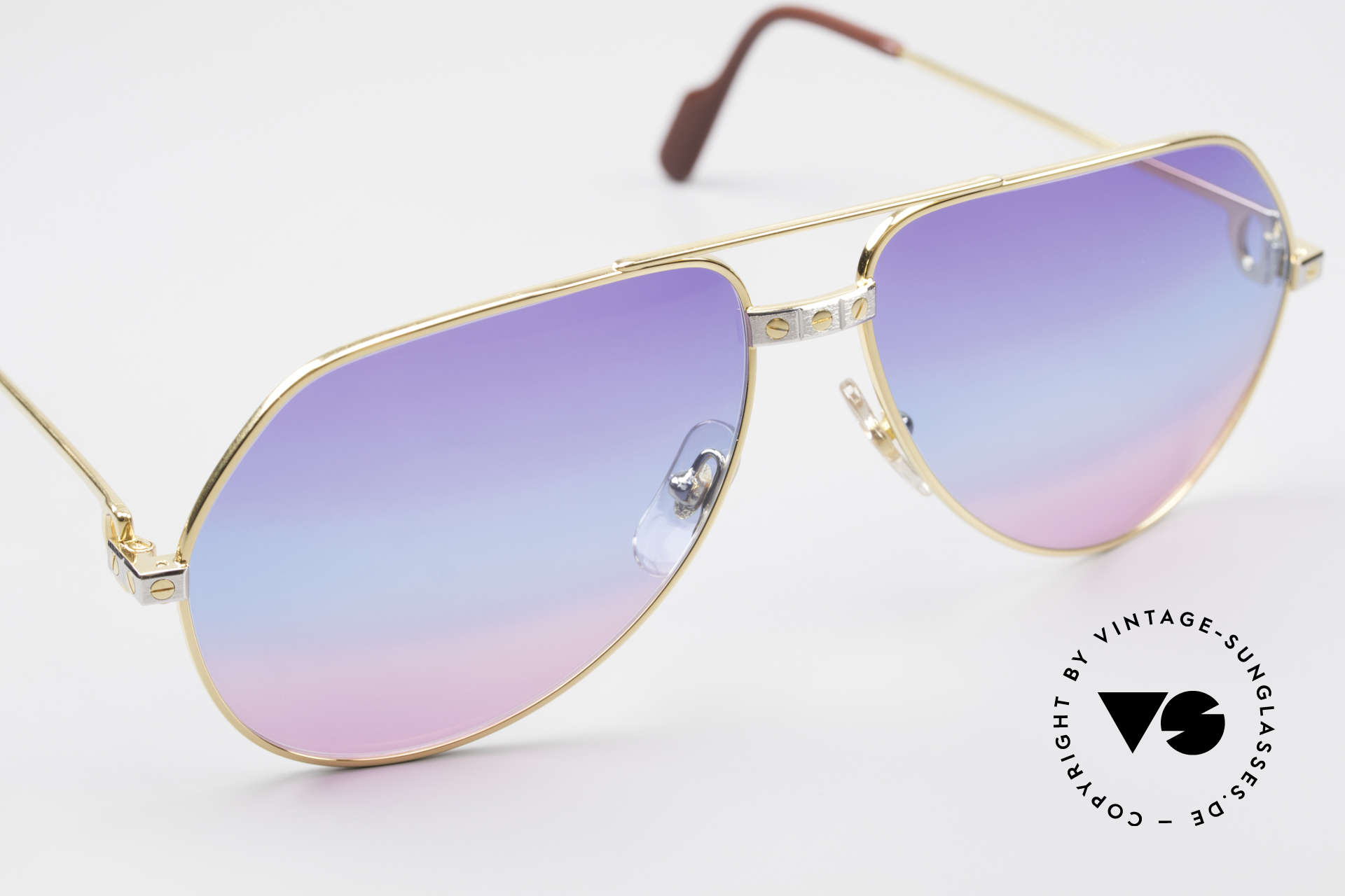 Cartier Vendome Santos - L Unique Triple Gradient Galaxy, CUSTOMIZED LENSES: Only available at us! (100% UV), Made for Men