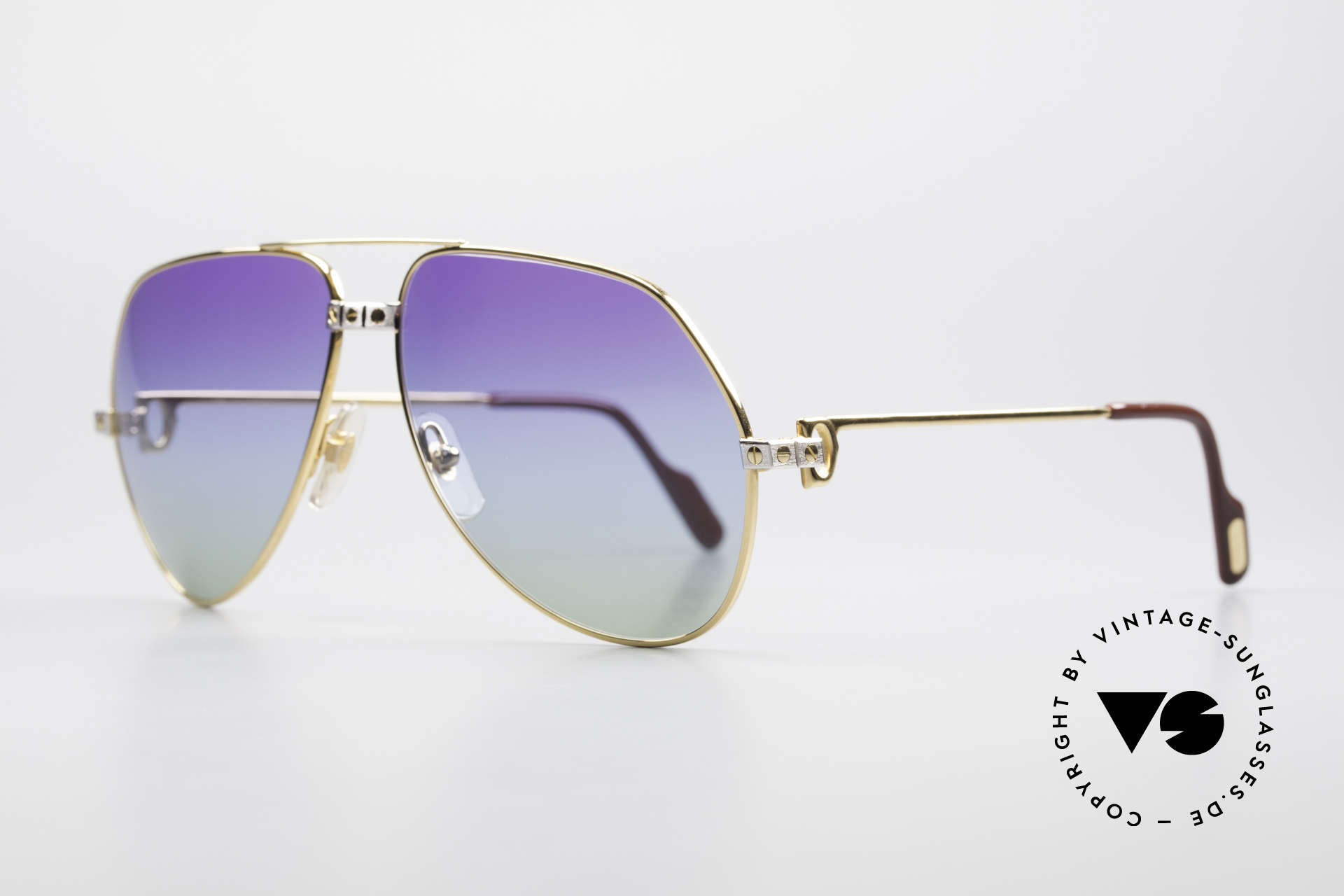 Cartier Vendome Santos - L Customized Purple Polar Lights, 22ct GOLD-PLATED frame in LARGE SIZE 62-14, 140!, Made for Men