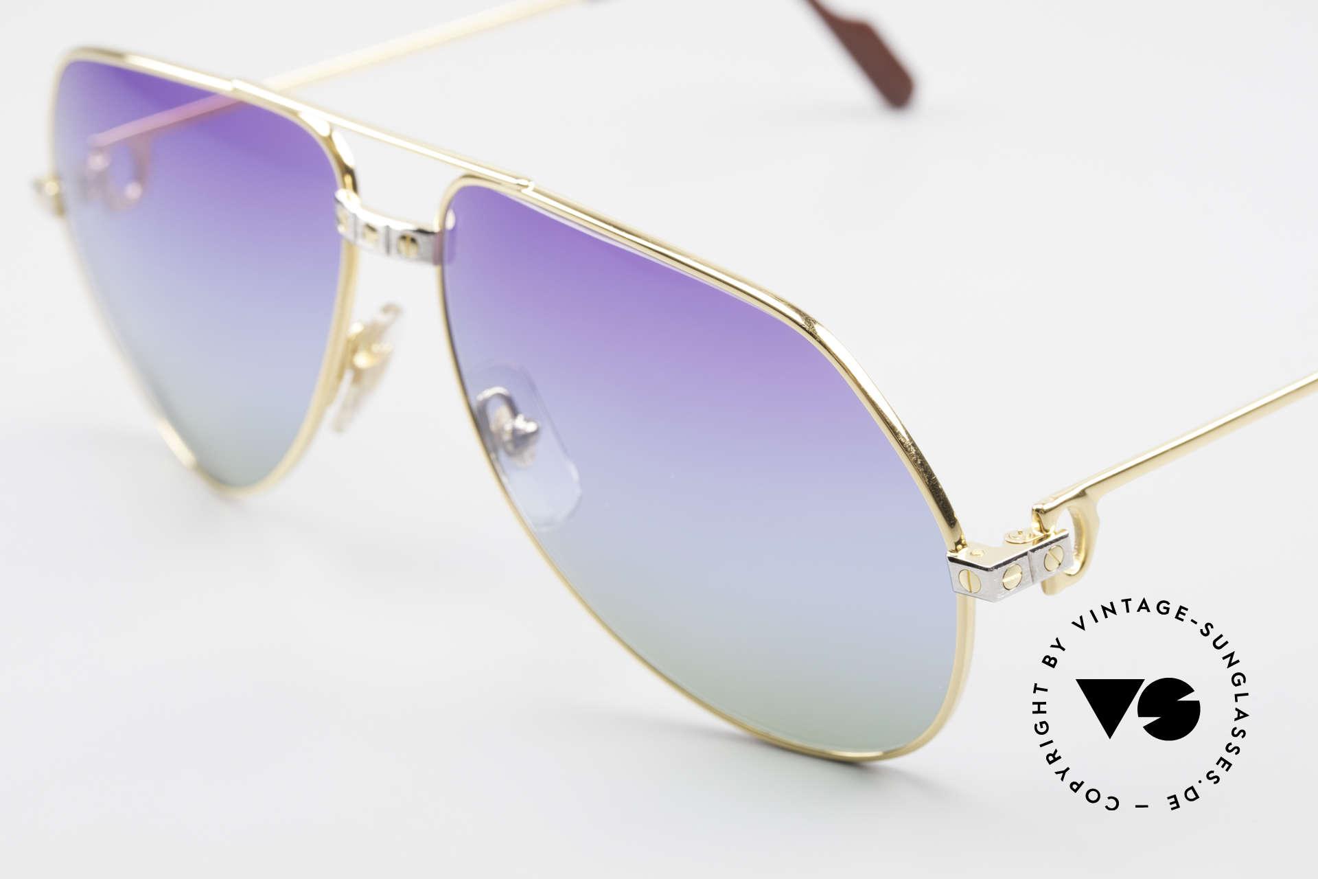 Cartier Vendome Santos - L Customized Purple Polar Lights, unique triple gradient sun lenses: purple polar lights, Made for Men