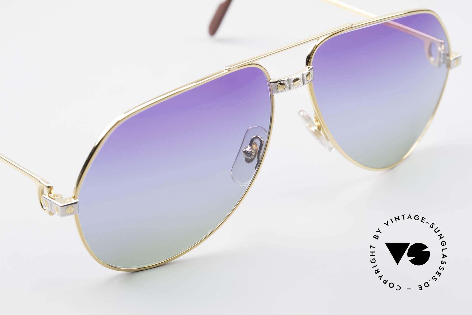 Cartier Vendome Santos - L Customized Purple Polar Lights, CUSTOMIZED LENSES: you won't find them elsewhere!, Made for Men