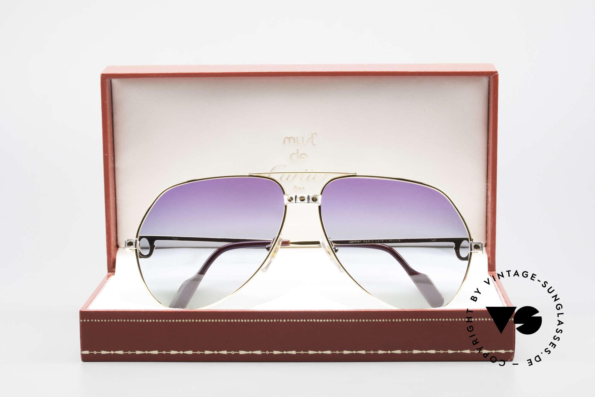 Cartier Vendome Santos - L Customized Purple Polar Lights, NO RETRO sunglasses, but an authentic vintage Original, Made for Men