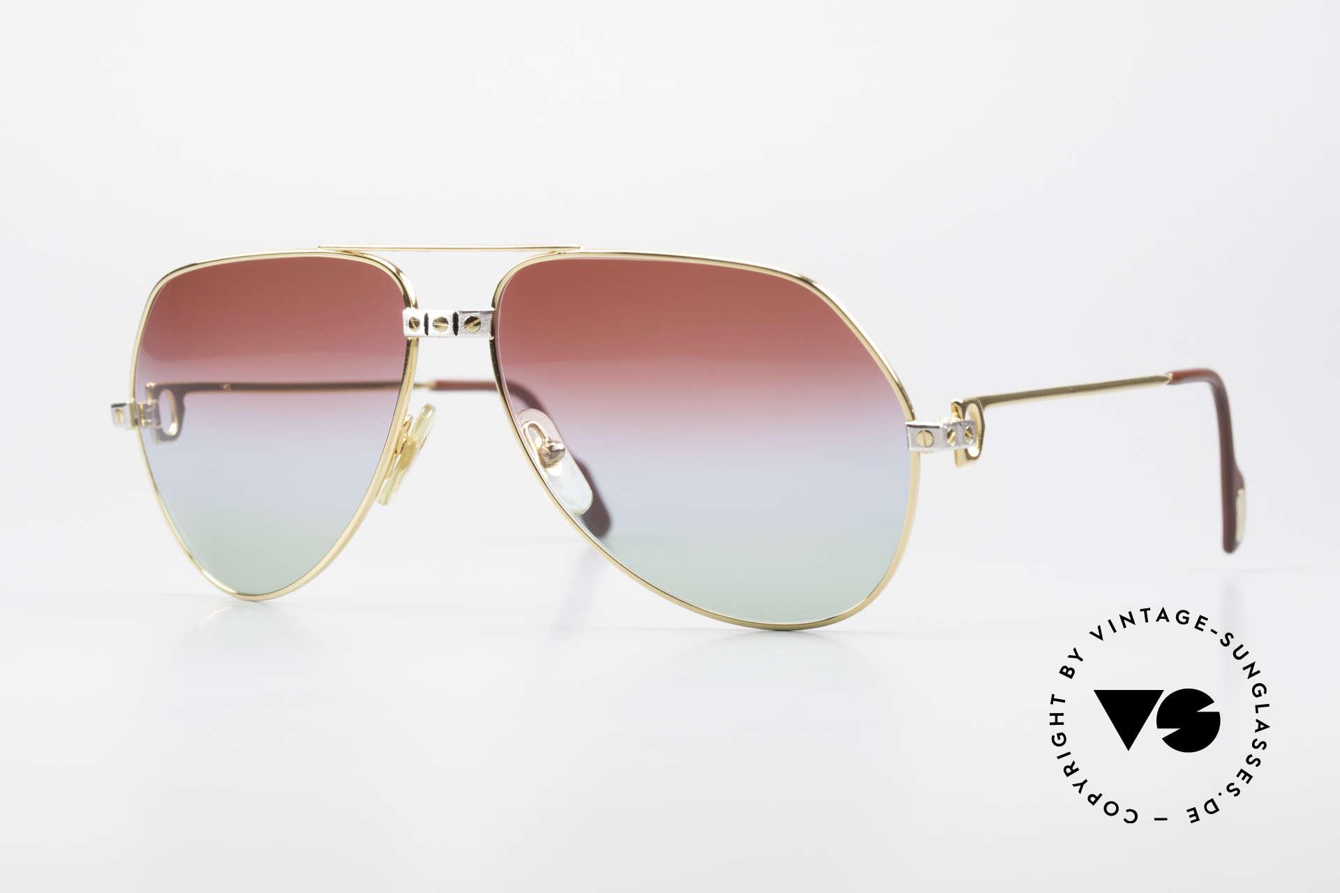 Cartier Vendome Santos - L Unique Bordeaux Polar Lights, 1980's CARTIER Vendome SANTOS aviator sunglasses, Made for Men