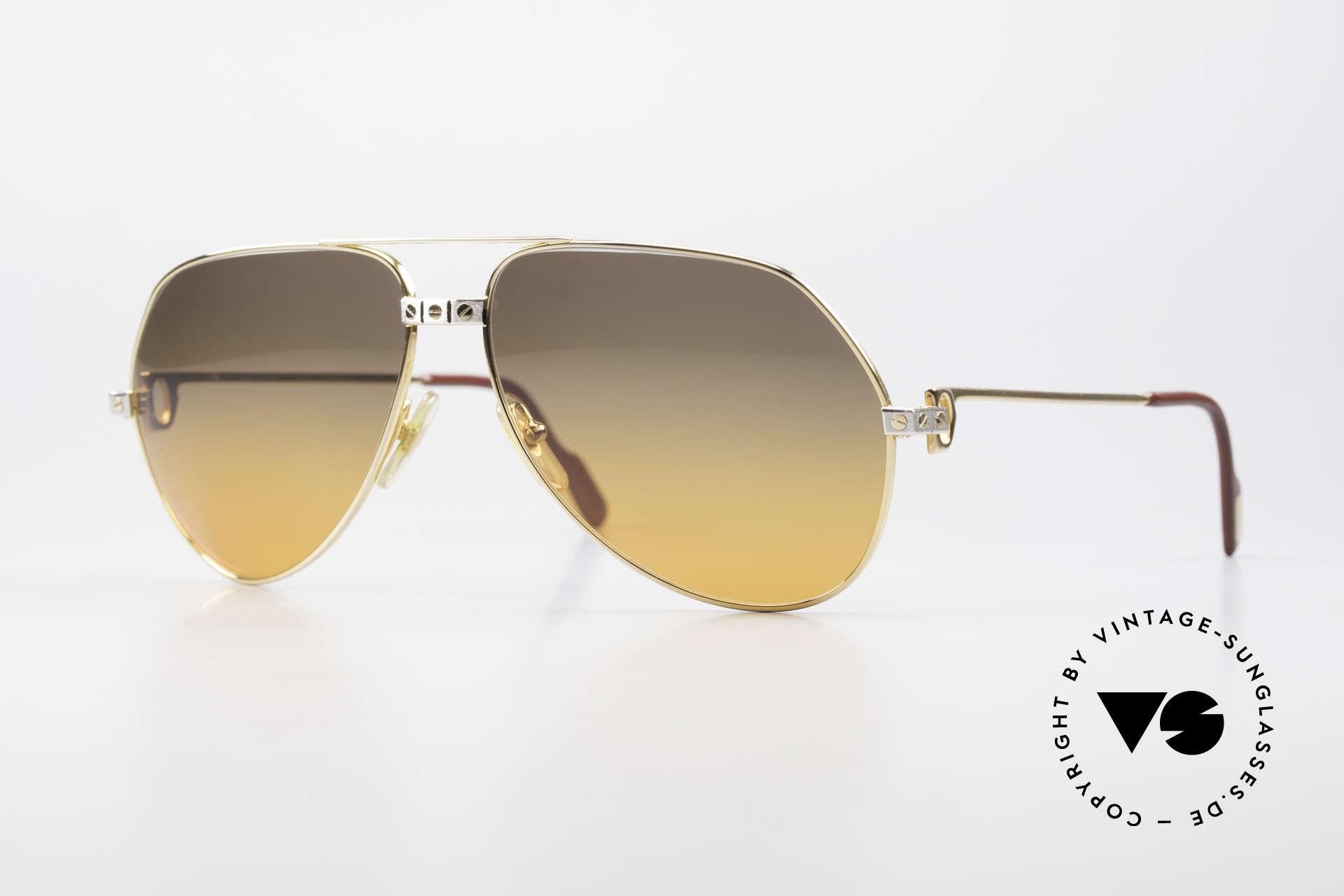 Cartier Vendome Santos - L Double Gradient Desert Storm, old 1980's CARTIER Vendome SANTOS pilots sunglasses, Made for Men