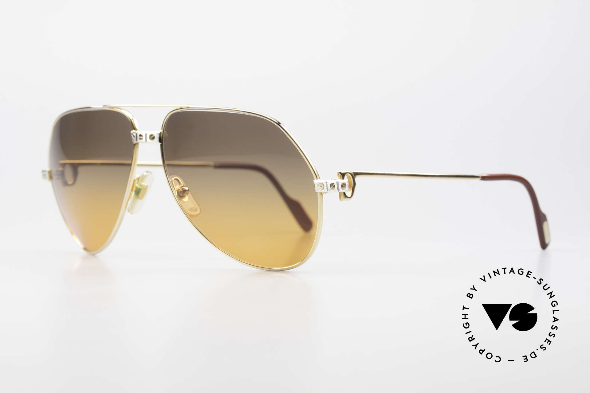 Cartier Vendome Santos - L Double Gradient Desert Storm, 22ct GOLD-PLATED frame in LARGE SIZE 62-14, 140!, Made for Men