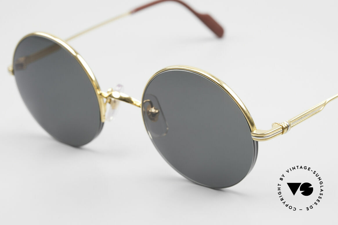 Cartier Mayfair Luxury Round Sunglasses 90's, 22ct gold-plated flexible frame; semi-rimless, Made for Men and Women