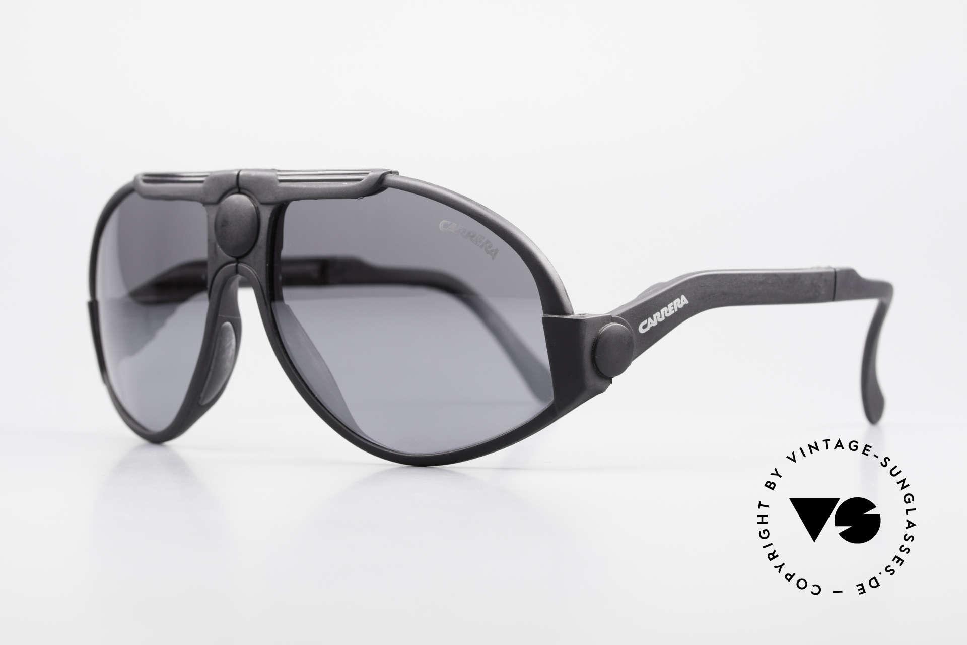 Carrera 5586 Folding Kevlar Sunglasses 90s, high-end Carrera silver-mirrored lenses (100% UV), Made for Men