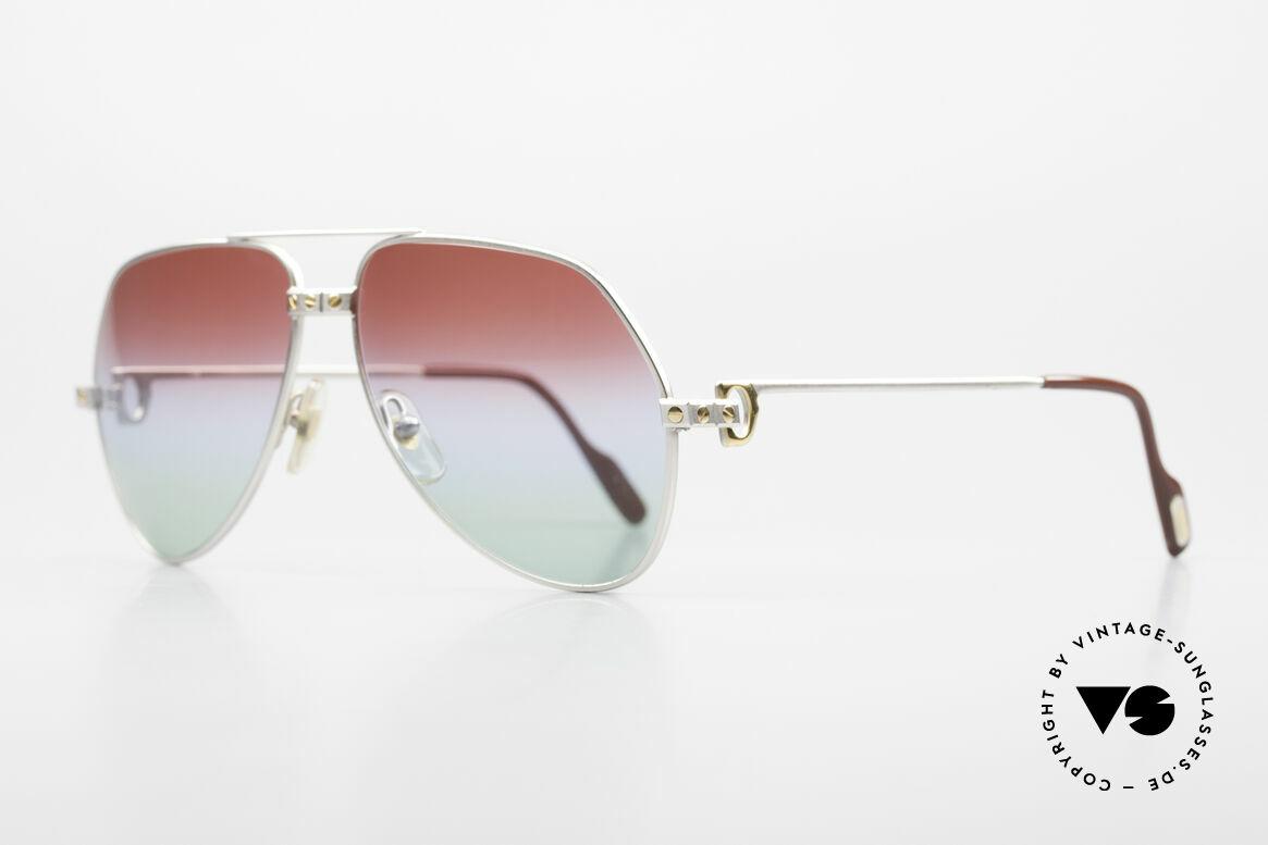 Cartier Vendome Santos - M Palladium Finish Polar Lights, Santos Decor (with 3 screws): MEDIUM size 59-14, 135, Made for Men