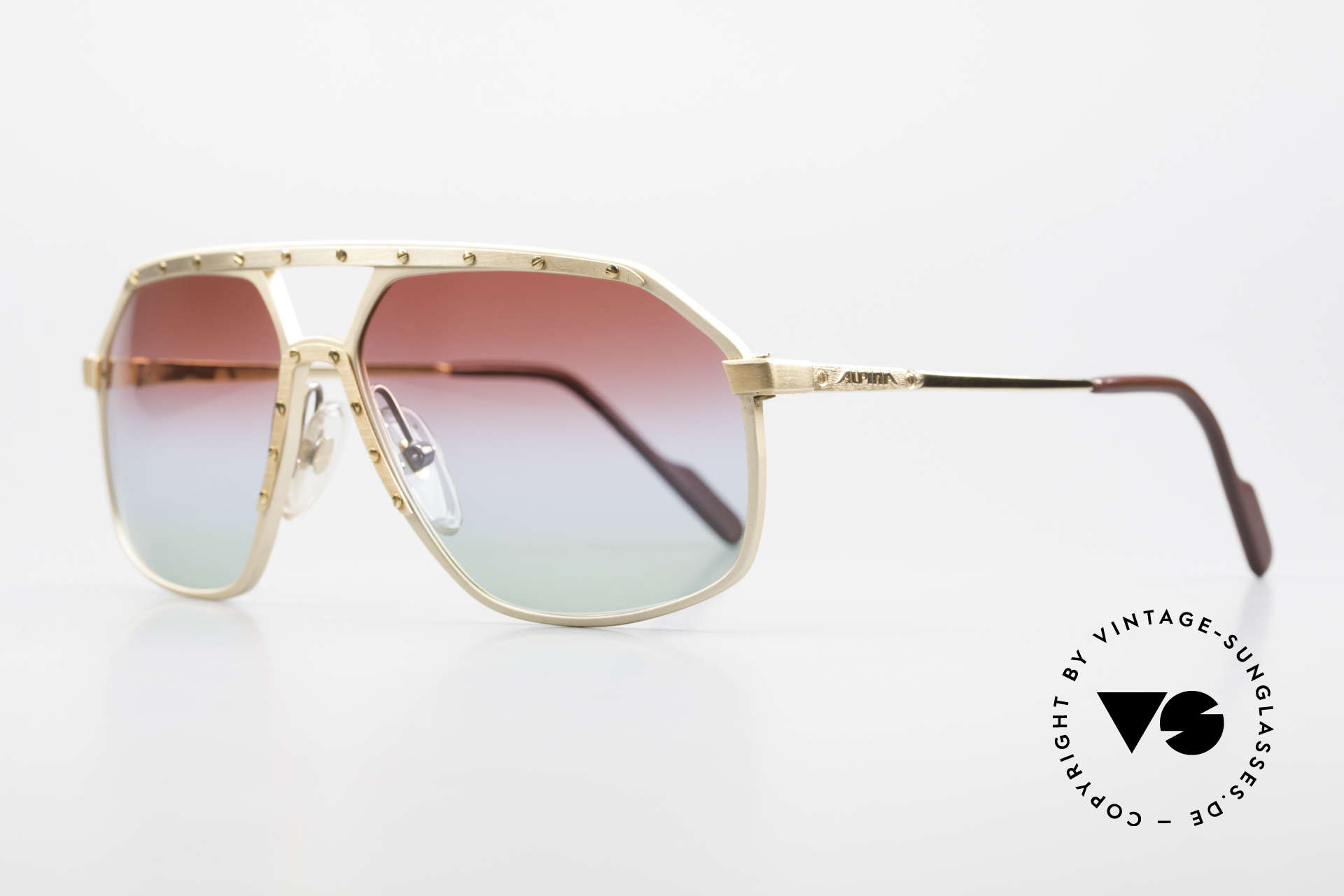 Alpina M6 West Germany Sunglasses 80's, with new customized tricolored sun lenses, fancy, Made for Men and Women