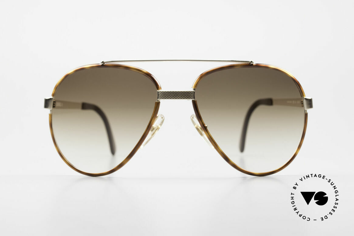 """Dunhill 6023 80's Sunglasses Luxury Aviator, noble GOLD-PLATED frame with """"tortoise"""" rings, Made for Men"""