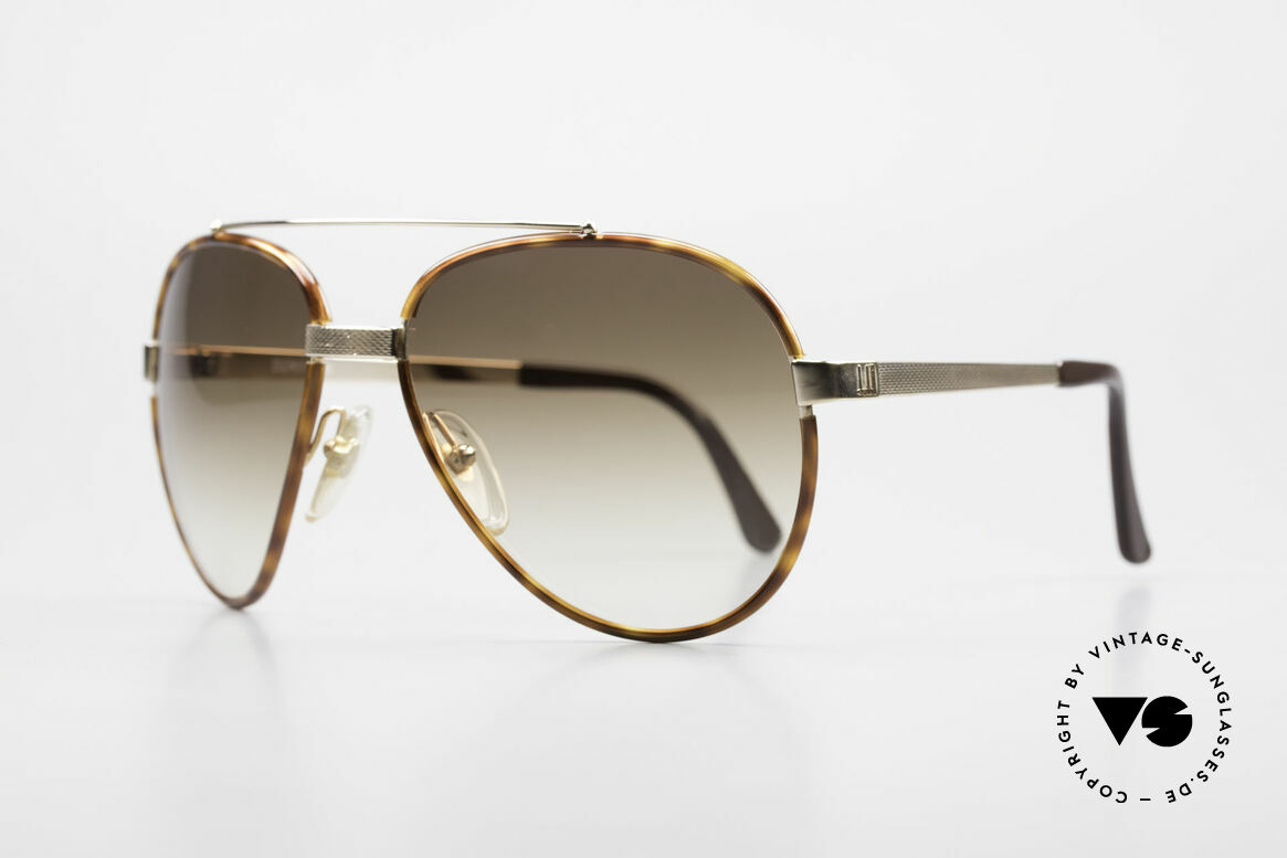 Dunhill 6023 80's Sunglasses Luxury Aviator, spring joint behind the bridge (excellent fitting), Made for Men