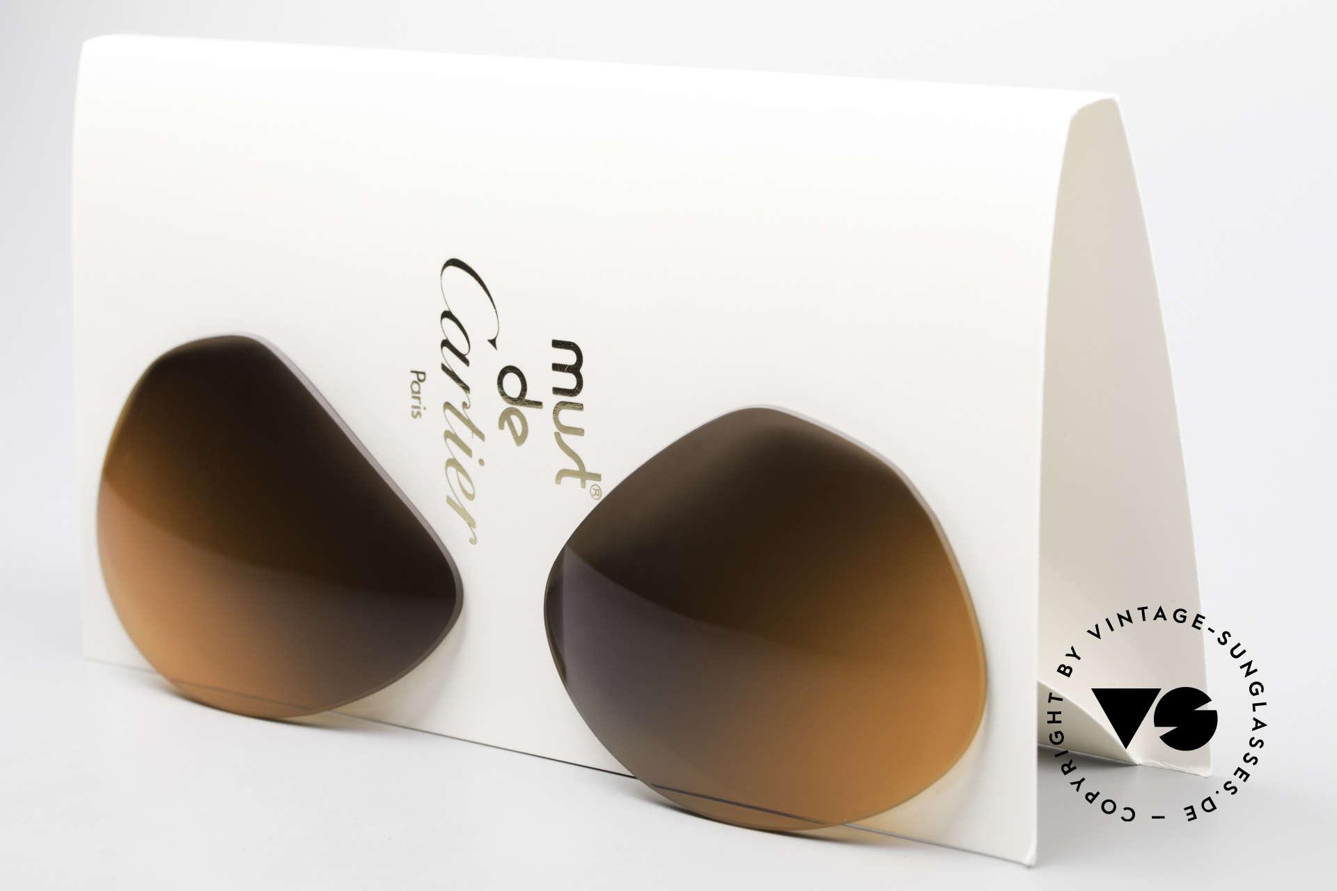 Cartier Vendome Lenses - L Double Gradient Desert Storm, new CR39 UV400 plastic lenses (for 100% UV protection), Made for Men and Women