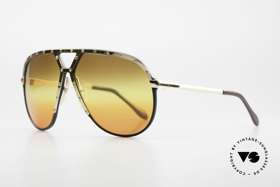 Alpina M1 80's Sunglasses Customized, black frame with GOLD-plated cover and temples, Made for Men