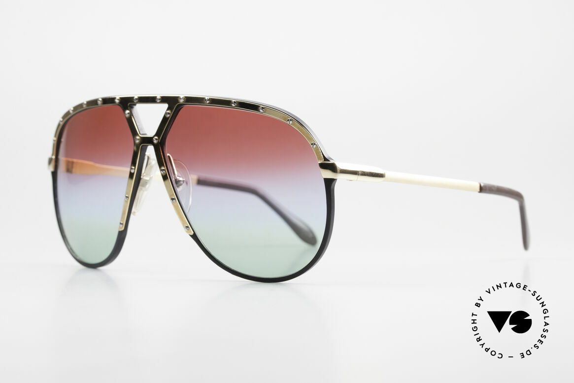 Alpina M1 Customized 80's Sunglasses, black frame with GOLD-plated cover and temples, Made for Men
