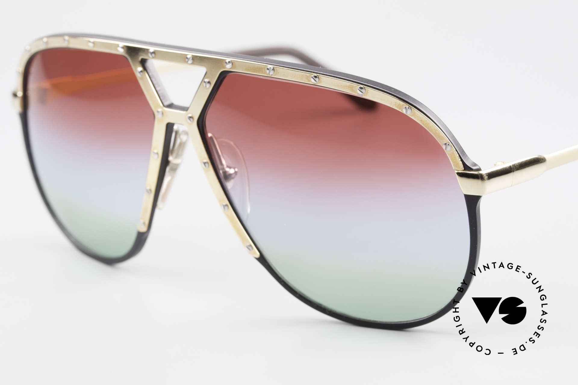 Alpina M1 Customized 80's Sunglasses, customized triple-gradient sun lenses 'Polar Lights', Made for Men