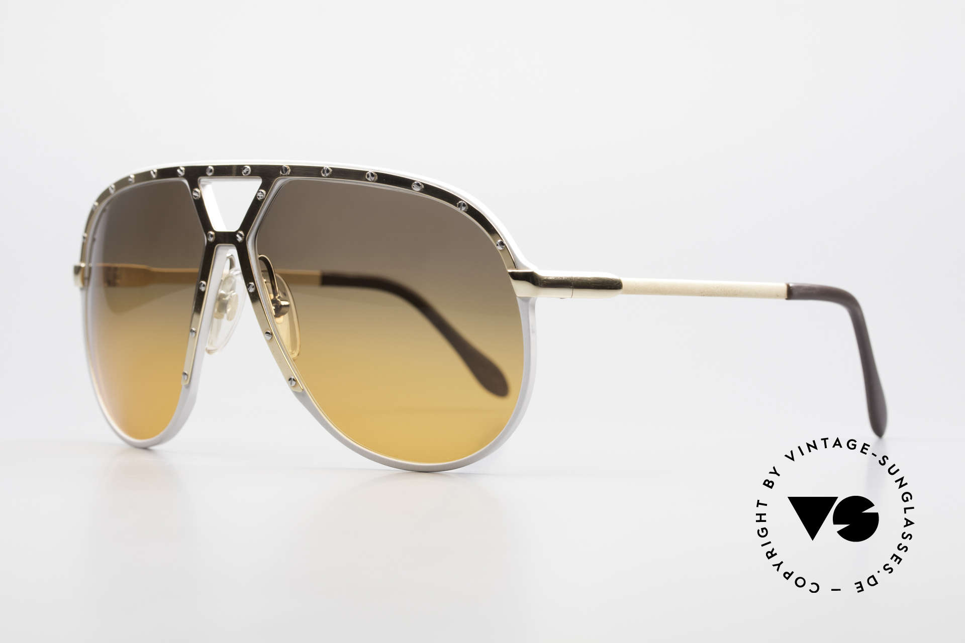 Alpina M1 80's Sunglasses One Of A Kind, silver frame with GOLD-plated cover and temples, Made for Men