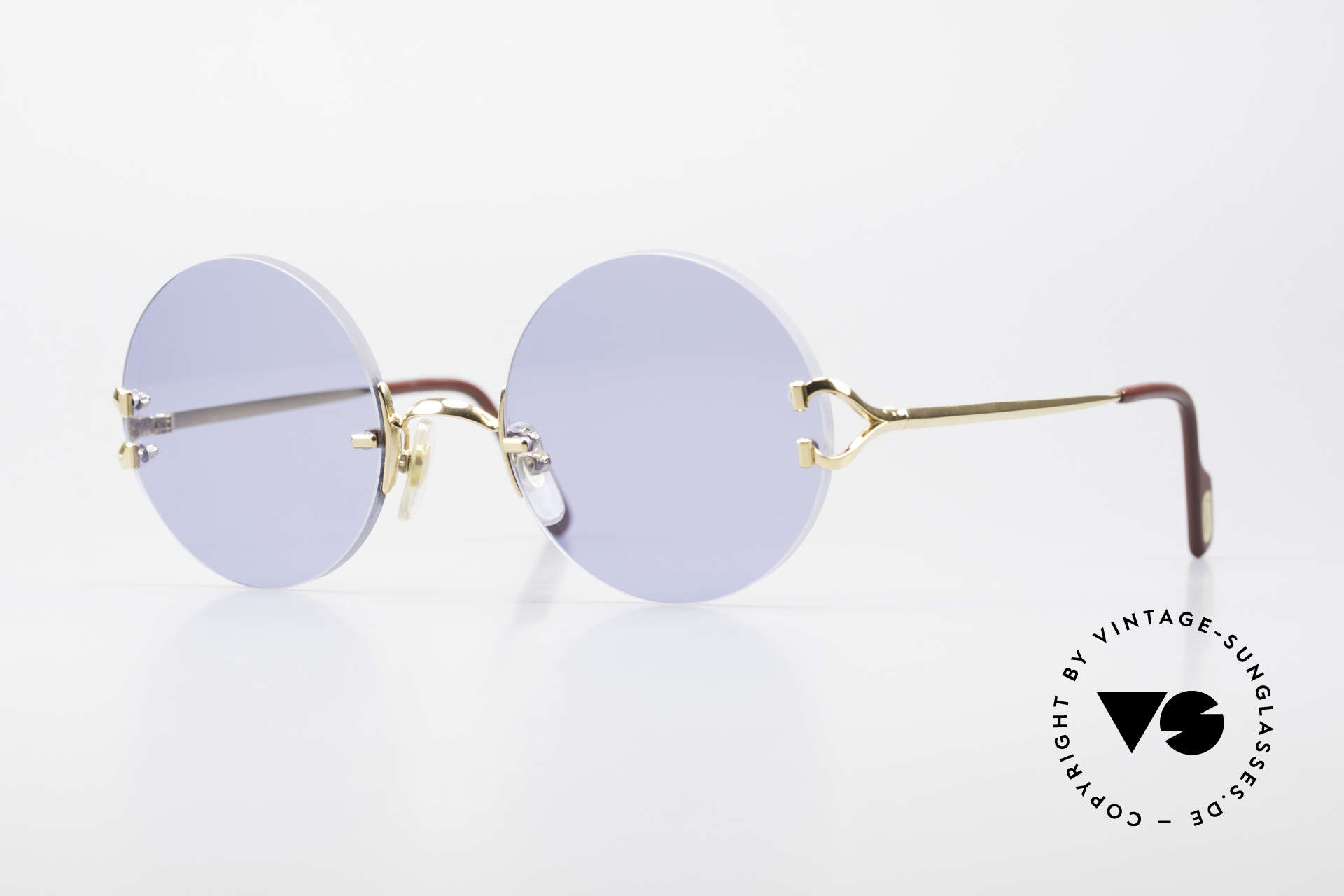 Cartier Madison Round Luxury Sunglasses 90's, noble rimless CARTIER luxury sunglasses from 1997, Made for Men and Women