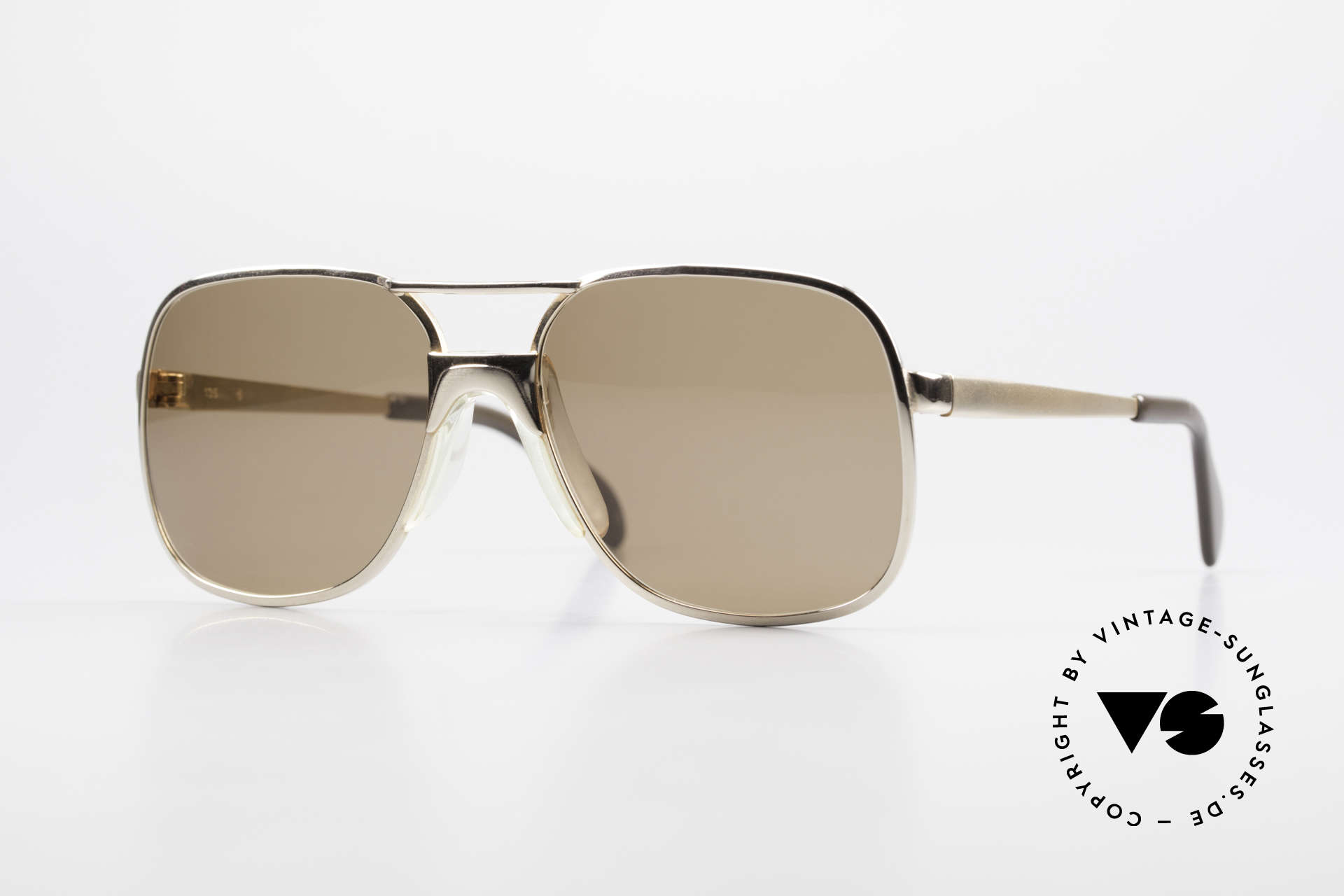 Metzler 7680 Small 80's Frame Gold Plated, old school vintage 80's sunglasses; SMALL size, Made for Men