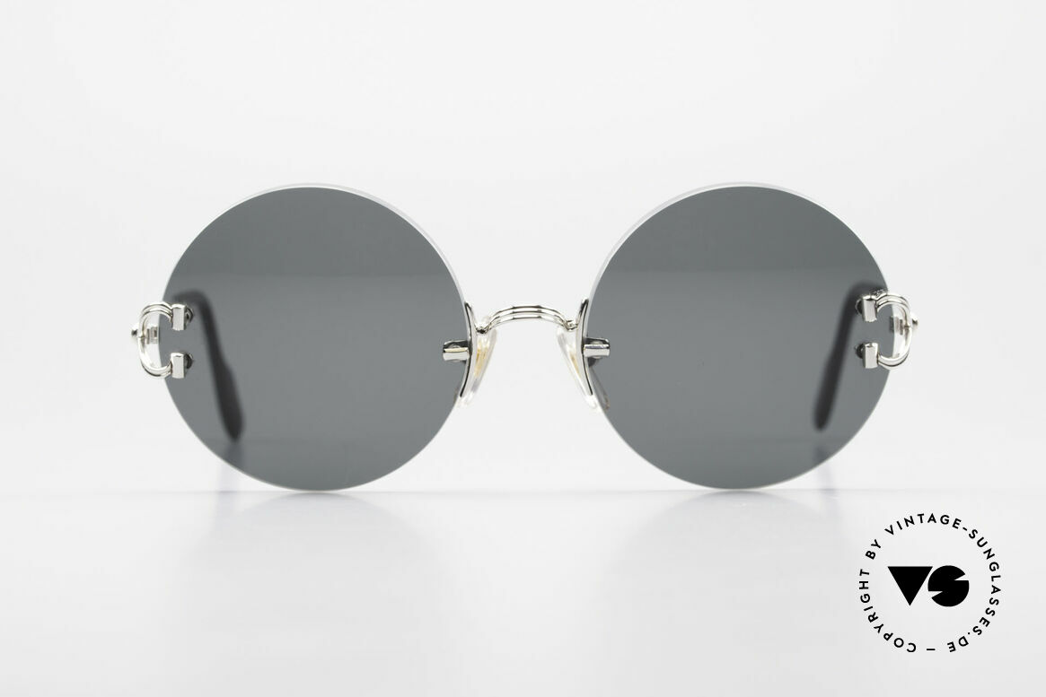 Cartier Madison Small Round Rimless Shades, precious round designer shades with platinum finish, Made for Men and Women