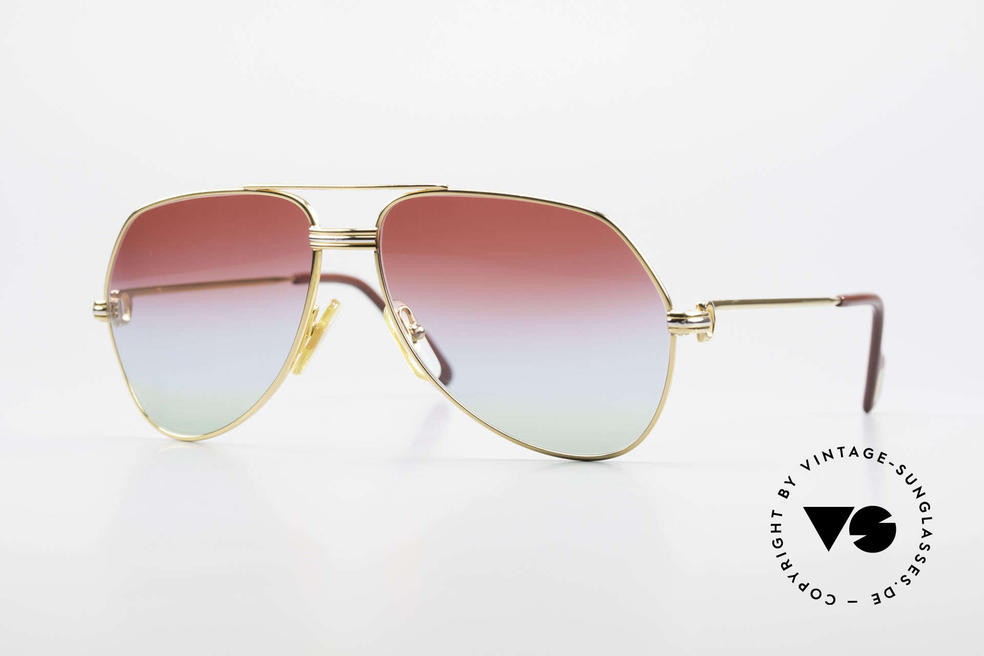 Cartier Vendome LC - S 1980's Sunglasses Tricolored, vintage Cartier Vendome glasses; famous aviator style!, Made for Men and Women