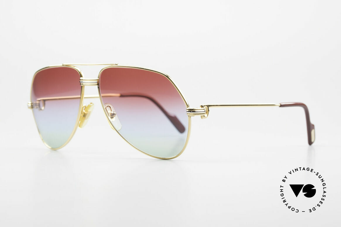 Cartier Vendome LC - S 1980's Sunglasses Tricolored, this pair (Louis Cartier decor): in SMALL size 56-14, 130, Made for Men and Women