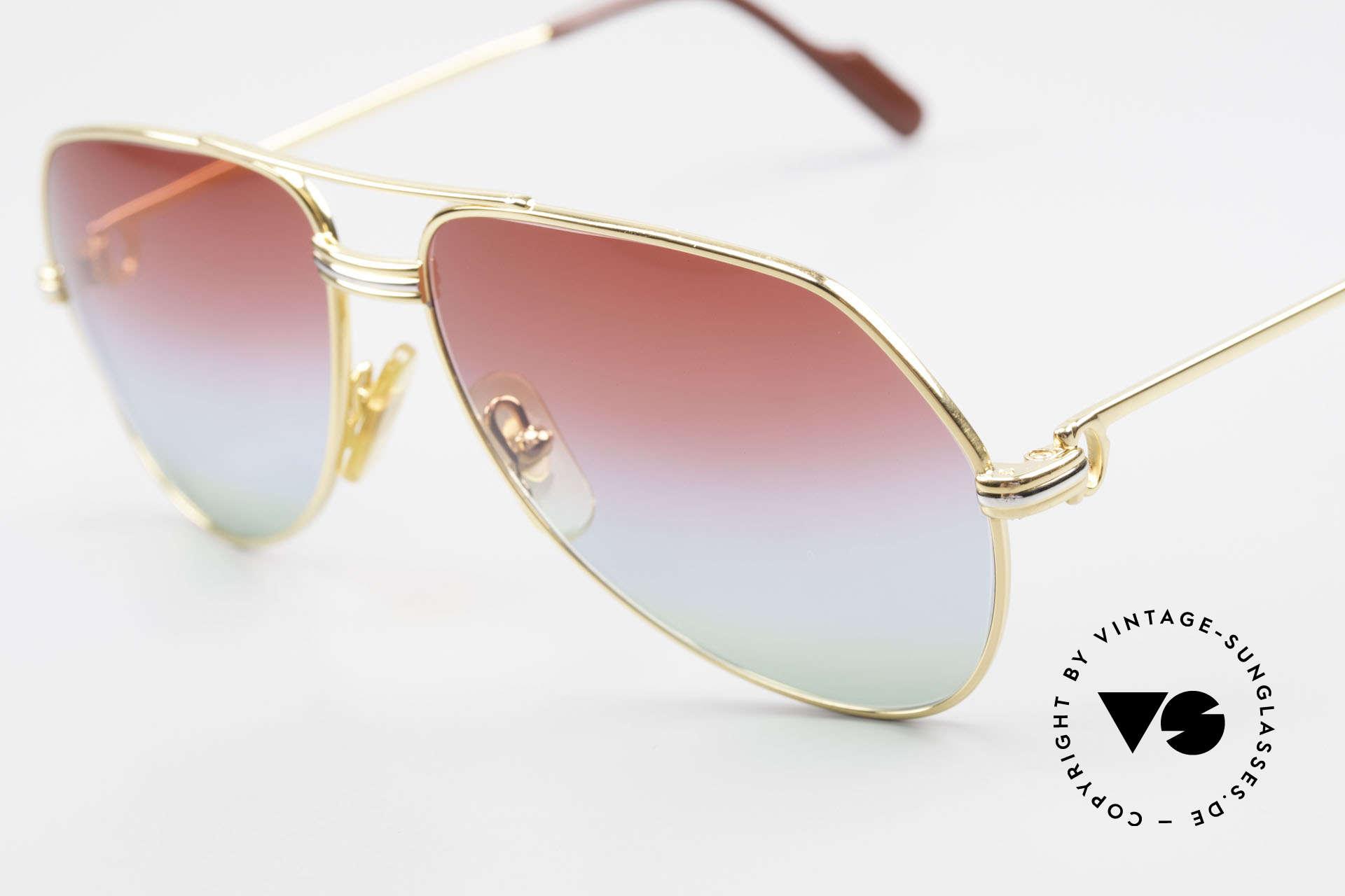 Cartier Vendome LC - S 1980's Sunglasses Tricolored, new fancy triple-gradient sun lenses (like polar lights), Made for Men and Women