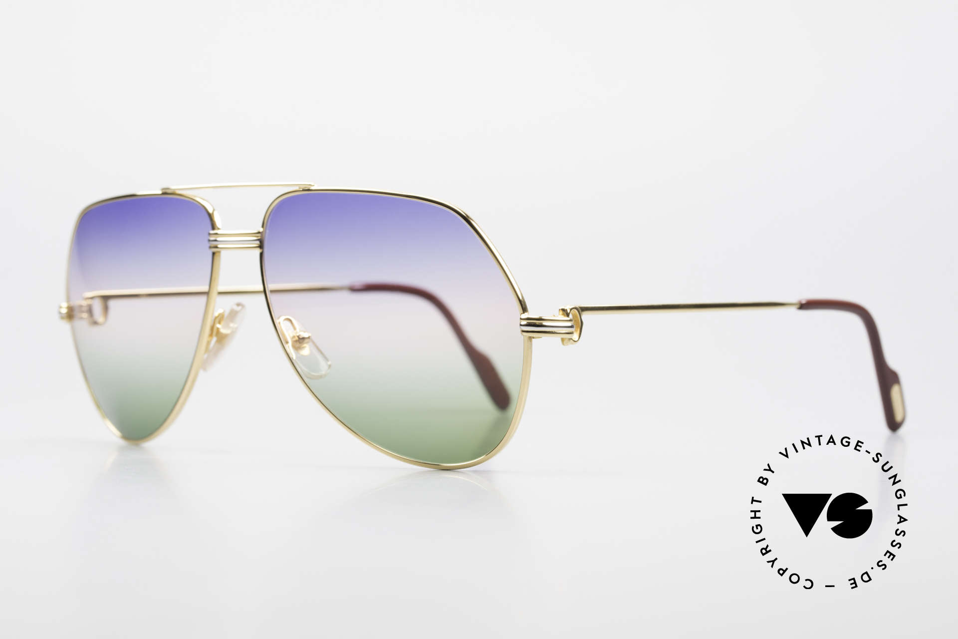 Cartier Vendome LC - L Rare Luxury Sunglasses 80's, here with Louis Cartier decor in LARGE size 62-14, 140, Made for Men