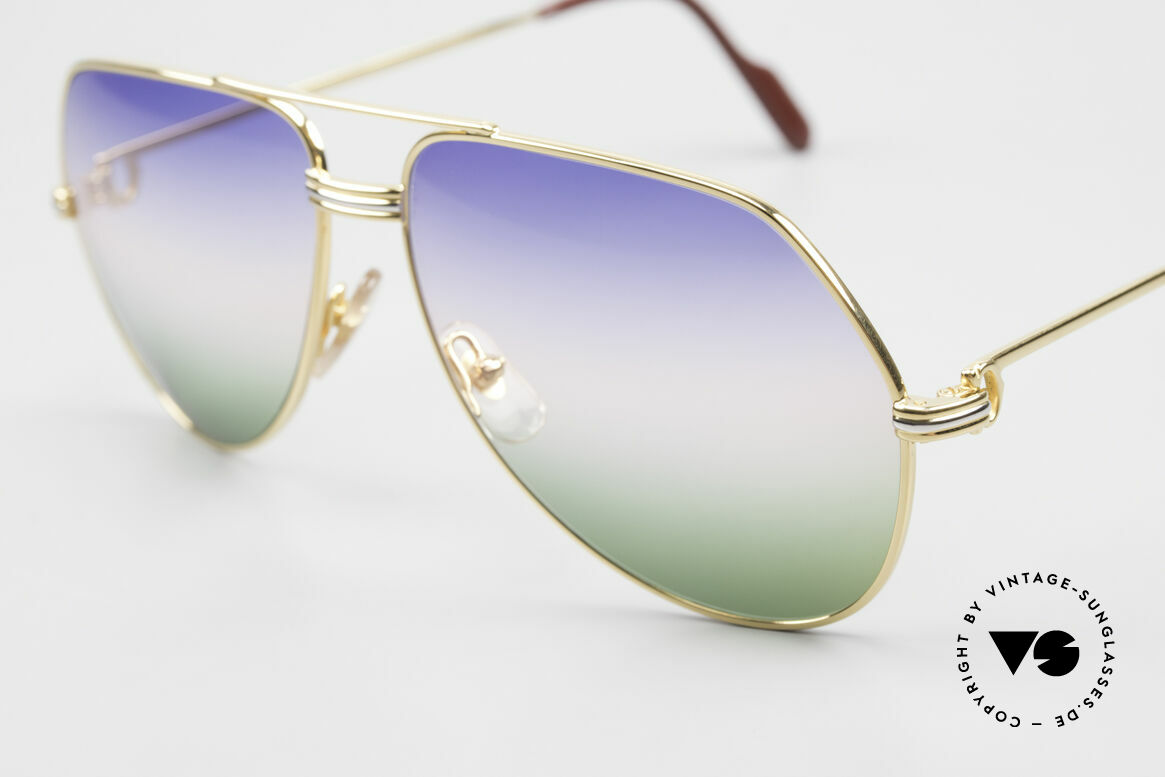 Cartier Vendome LC - L Rare Luxury Sunglasses 80's, ultra rare, new TRICOLOR customized GRADIENT lenses, Made for Men