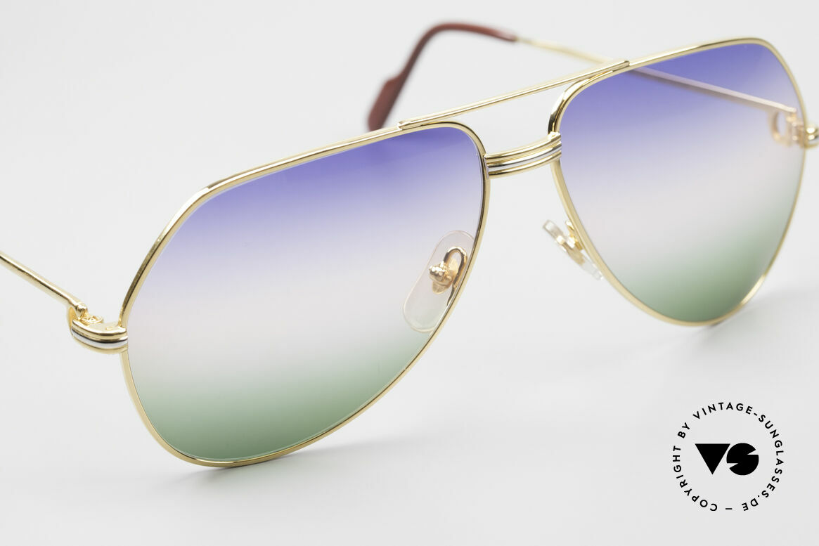 Cartier Vendome LC - L Rare Luxury Sunglasses 80's, from sky-blue to the red of sunrise colors to grass-green, Made for Men