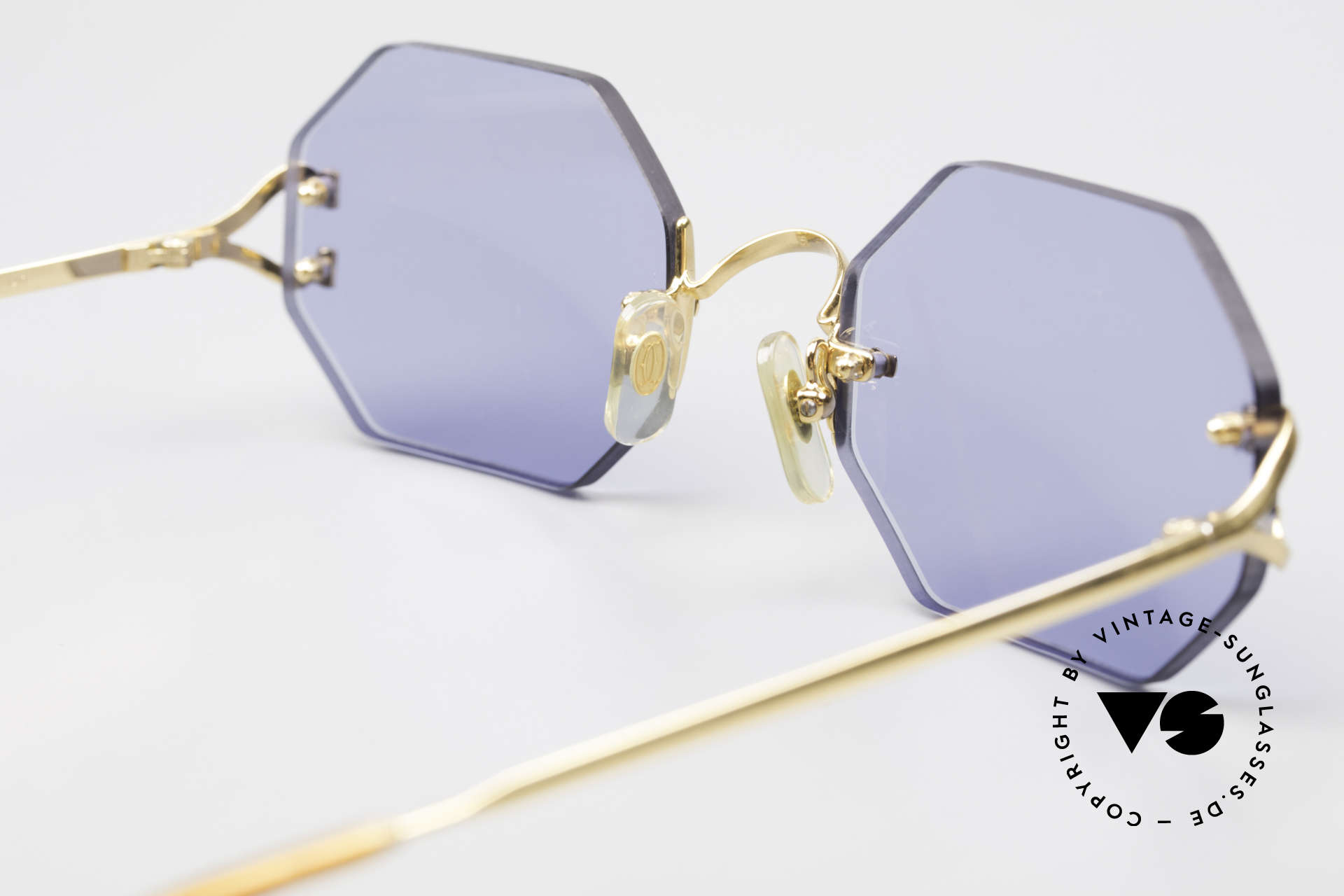 Cartier Rimless Octag Octag Shades One of a Kind, with new CR39 UV400 lenses in solid blue; 100% UV, Made for Men and Women