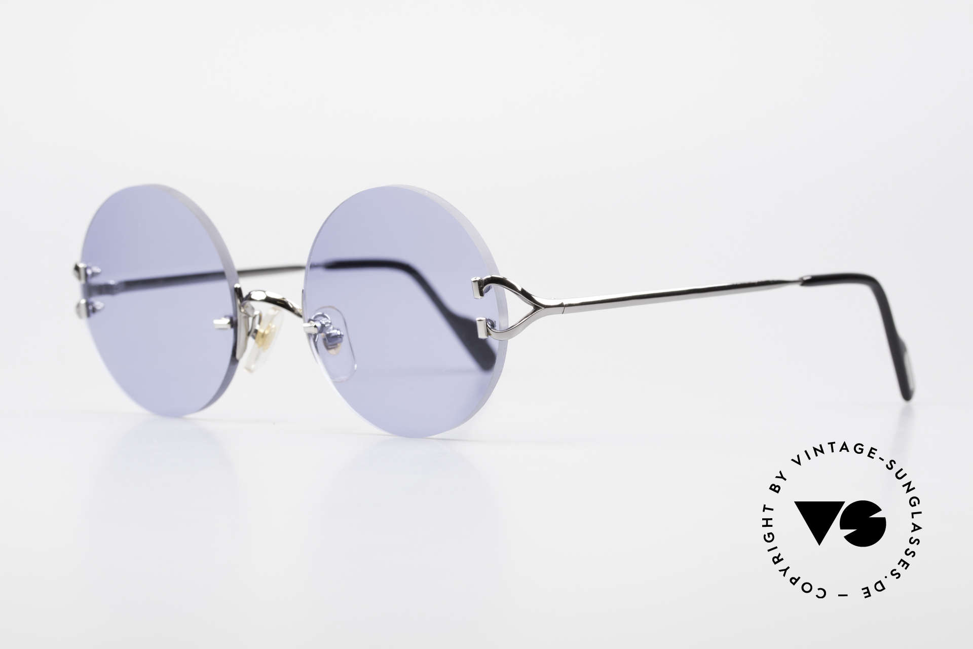 Cartier Madison Round Sunglasses Gunmetal, noble rimless CARTIER luxury sunglasses from 1997, Made for Men and Women