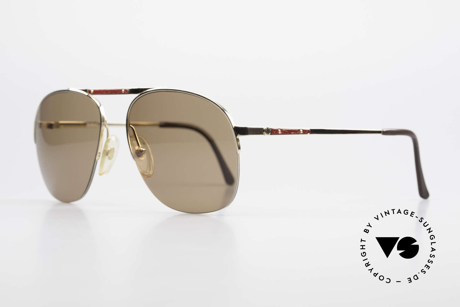 Dunhill 6022 80's Gentlemen's Sunglasses, GOLD-PLATED frame with root wood (briar) appliqué, Made for Men