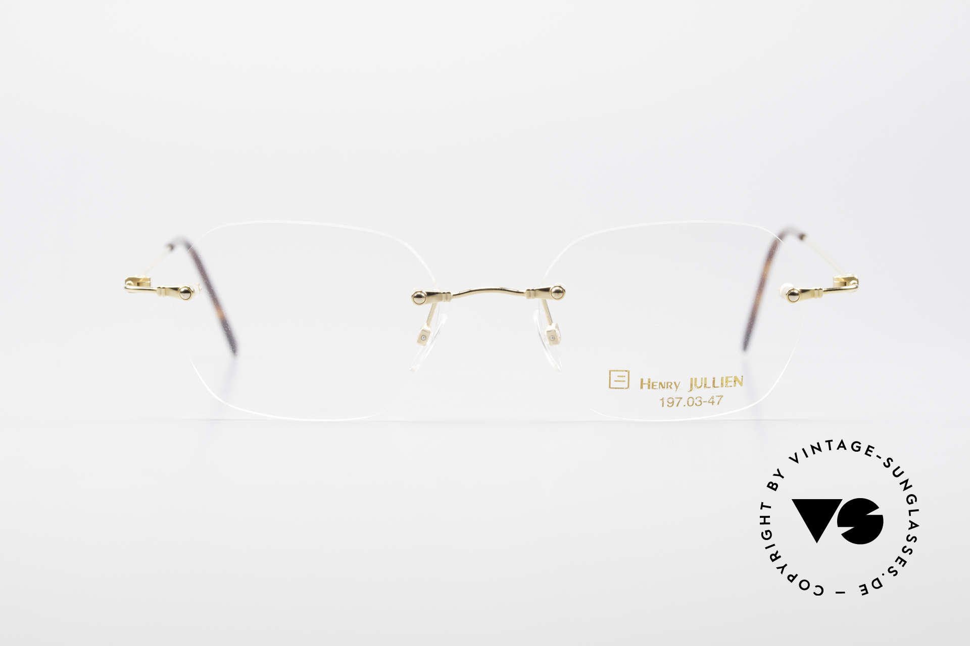 Henry Jullien Melrose 4000 Rimless Vintage Frame 90's, Jullien is well-known for high-end gold processing, Made for Men and Women