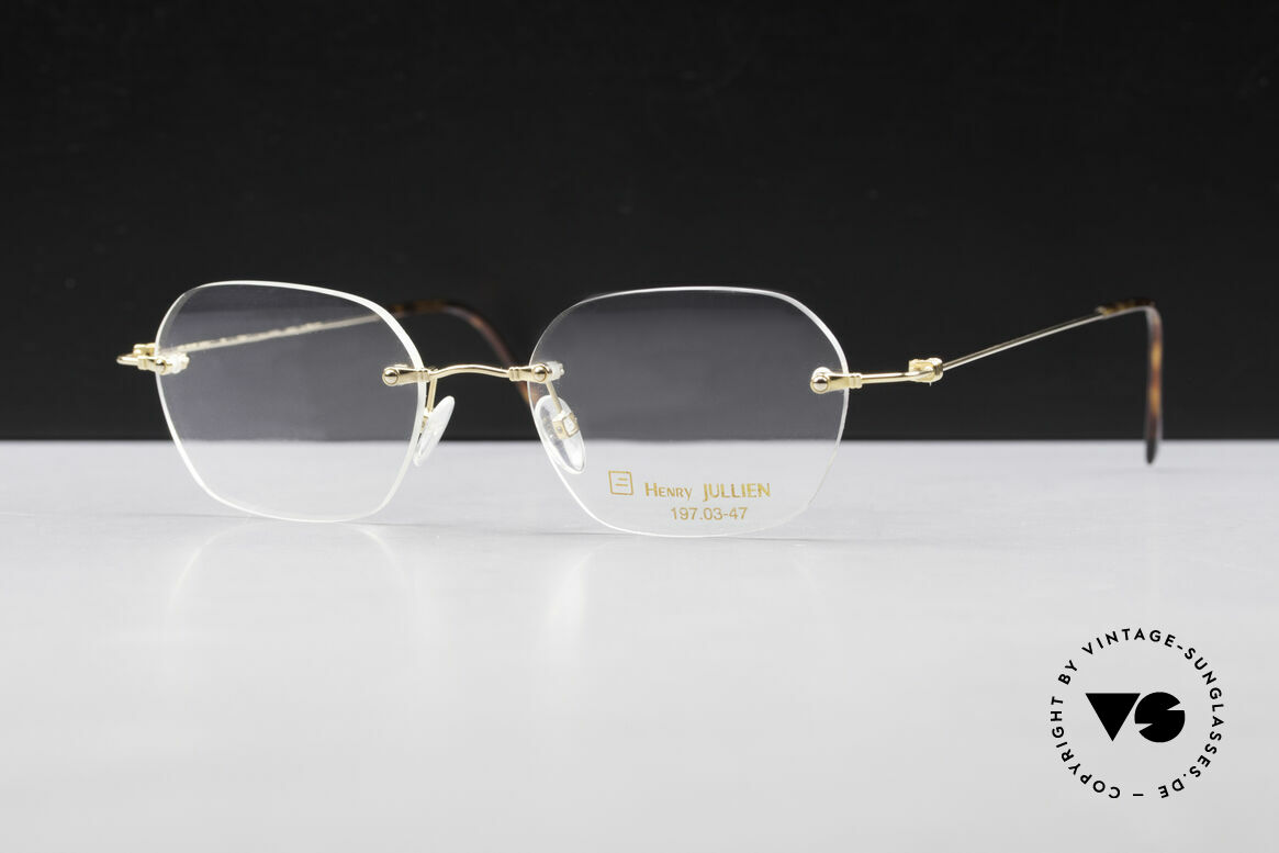 Henry Jullien Melrose 4000 Rimless Vintage Frame 90's, accordingly top-notch, noble & precious frame finish, Made for Men and Women