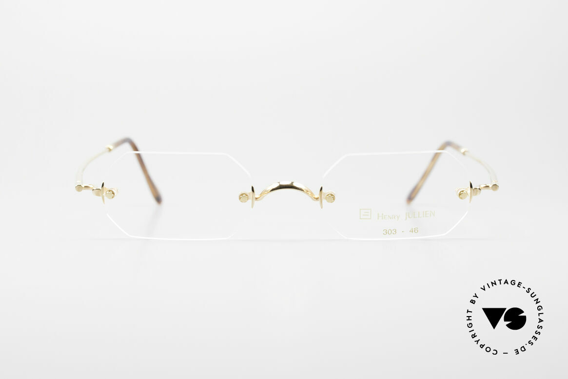 Henry Jullien Paraphe 303 Octagonal Rimless Frame, Jullien is well-known for high-end gold processing, Made for Men and Women
