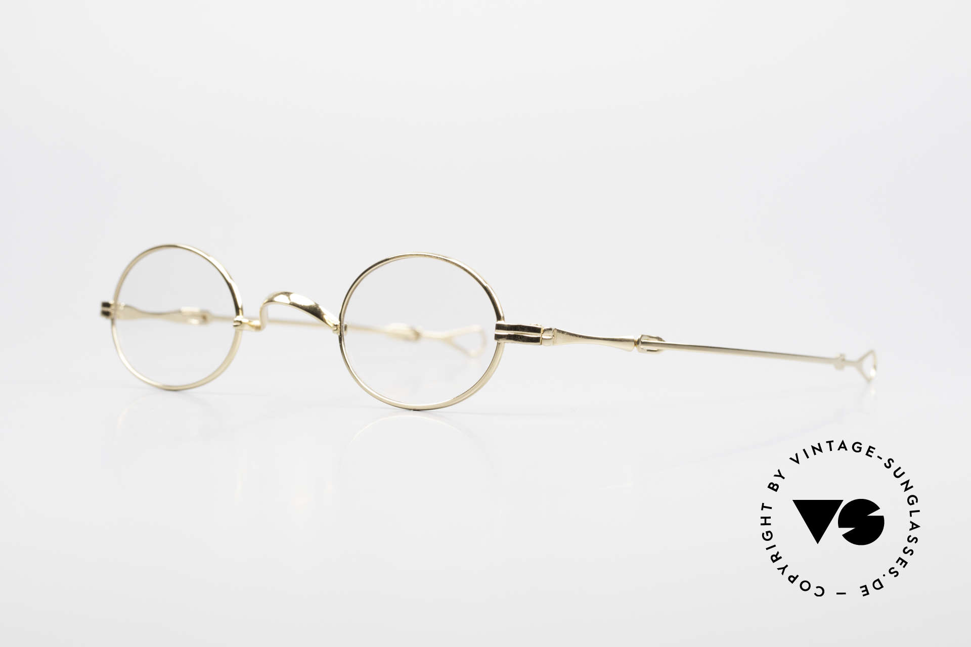 Lunor I 04 Telescopic XS Gold Glasses Slide Temples, model I 04 = size 37°26, temple length: 118mm - 155 mm, Made for Men and Women