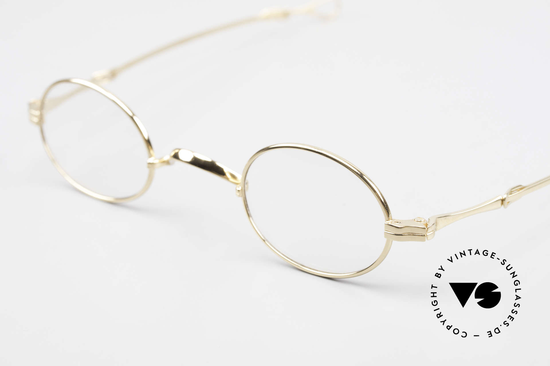 Lunor I 04 Telescopic XS Gold Glasses Slide Temples, an approx. 20 years old UNWORN pair for lovers of quality, Made for Men and Women