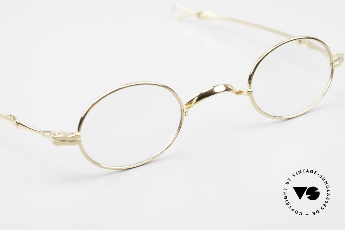 Lunor I 04 Telescopic XS Gold Glasses Slide Temples, the rarity can be glazed with prescription lenses, of course, Made for Men and Women