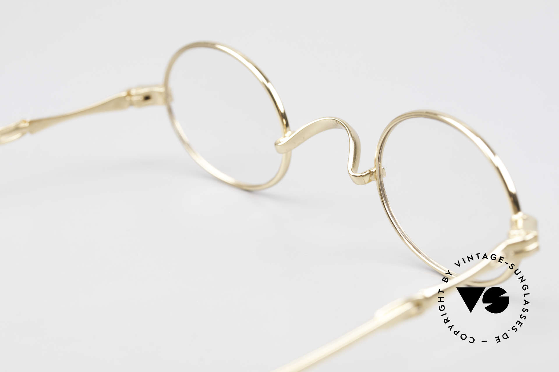 """Lunor I 04 Telescopic XS Gold Glasses Slide Temples, LUNOR = shortcut for French """"Lunette d'Or"""" (gold glasses), Made for Men and Women"""