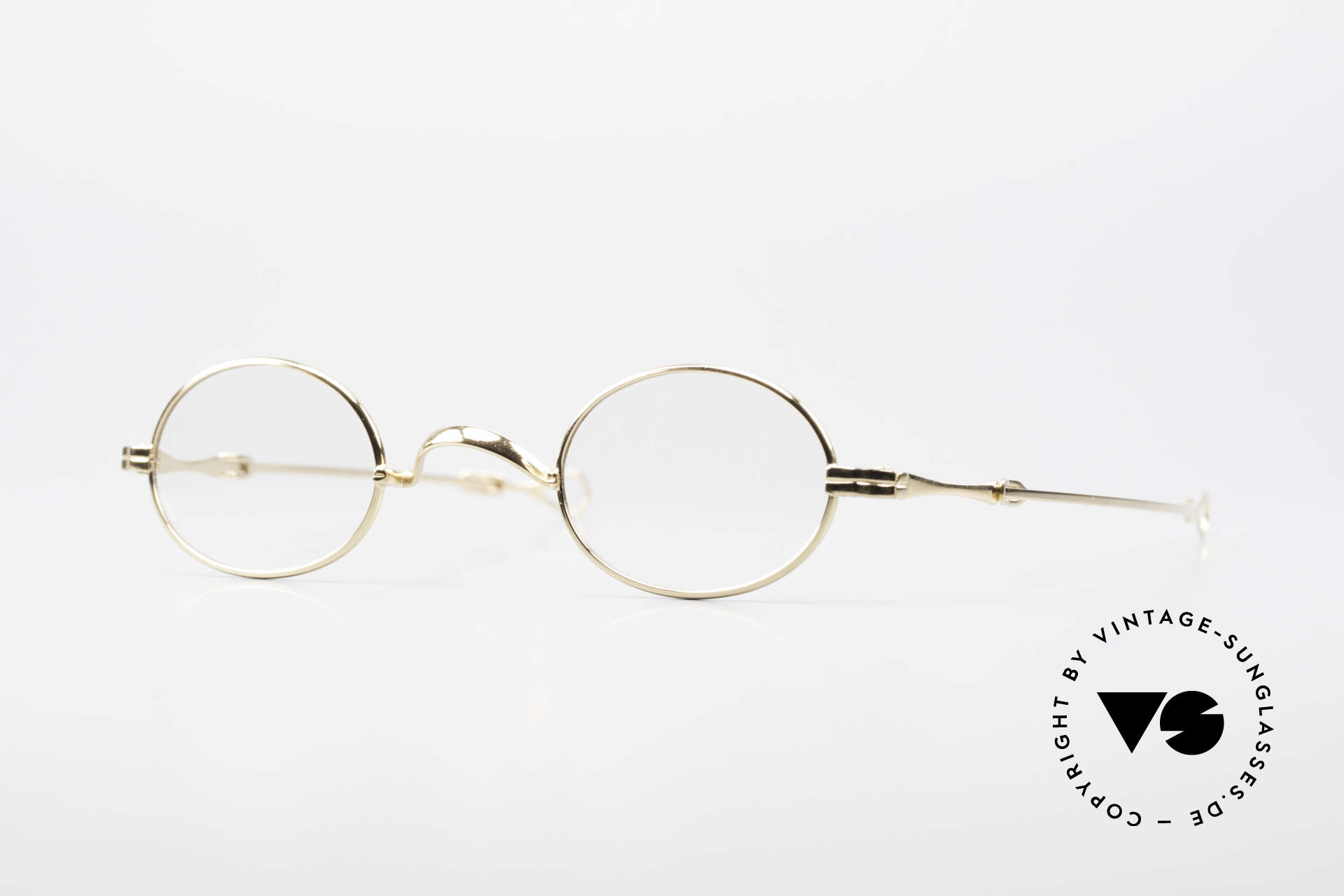Lunor I 04 Telescopic XS Gold Glasses Slide Temples, extra small oval Lunor frame with telescopic slide temple, Made for Men and Women