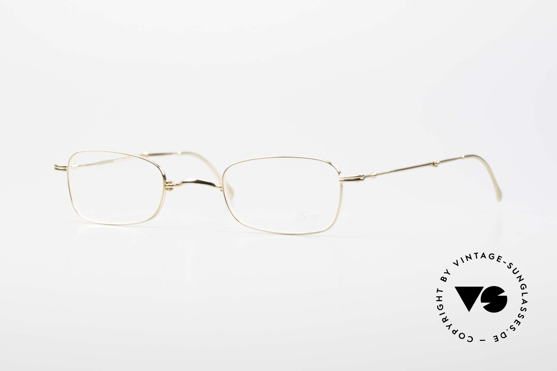 Lunor XXV Folding 02 Foldable Frame Gold Plated, rare, old Lunor folding eyeglasses XXV 02 in size 43/22, Made for Men and Women
