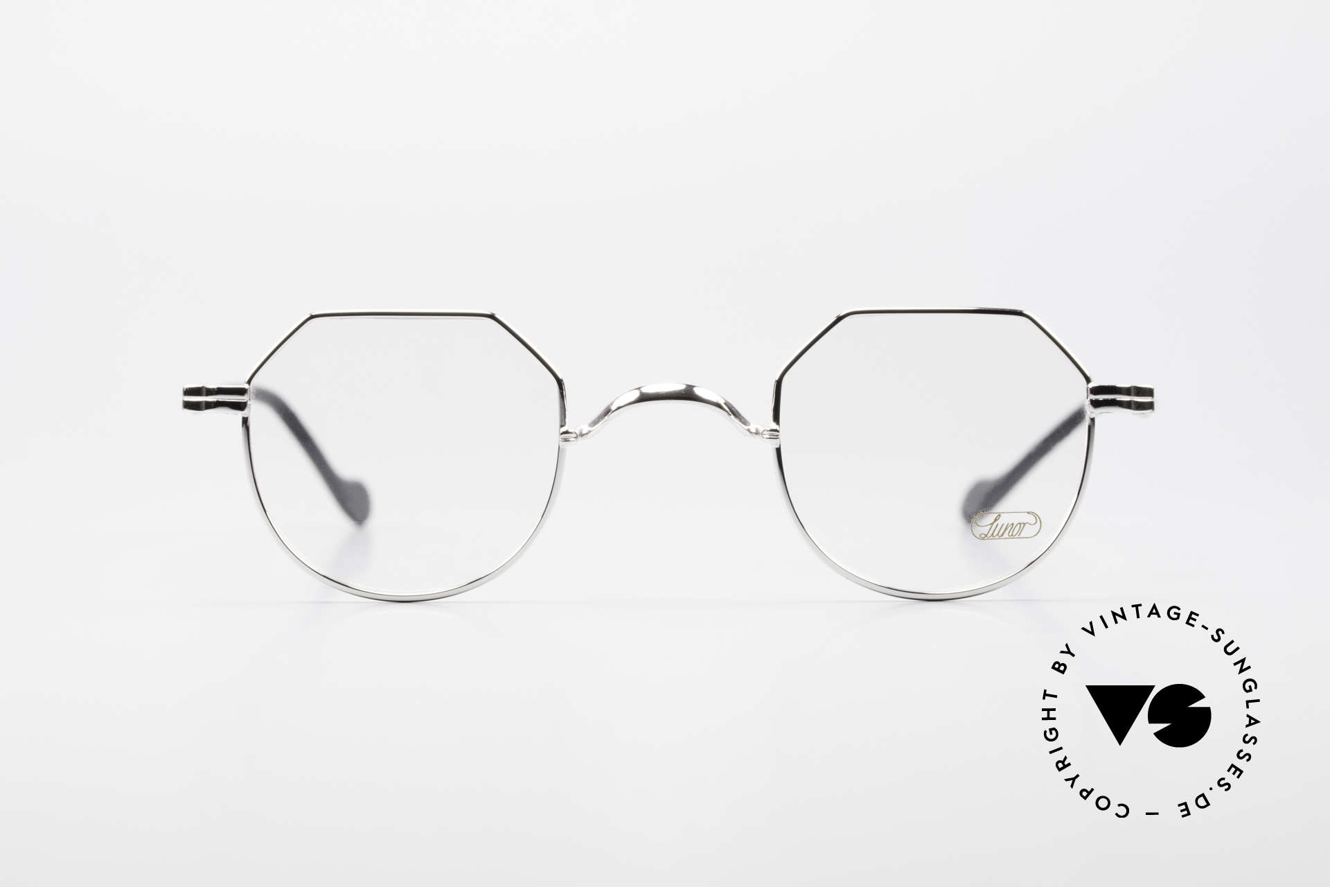 Lunor II A 18 Square Panto Frame Platinum, combination: full rimmed metal frame & acetate temples, Made for Men and Women