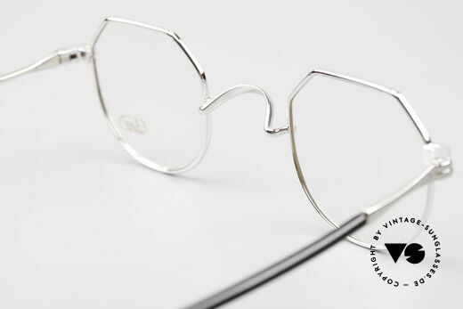 Lunor II A 18 Square Panto Frame Platinum, DEMO lenses should be replaced with prescription lenses, Made for Men and Women