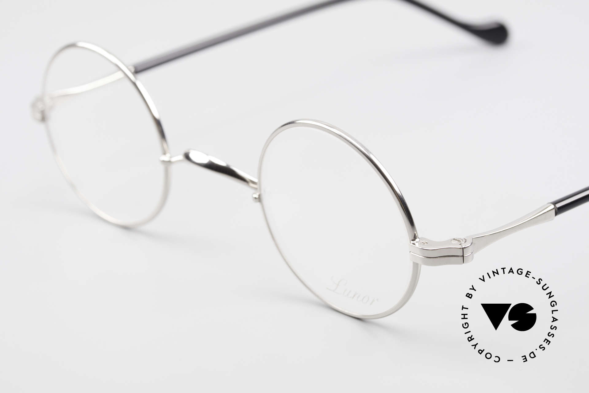 "Lunor II A 12 Round Vintage Frame Platinum, this is the round ""12"" design in size 38/25 (extra SMALL), Made for Men and Women"